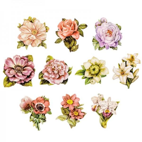 3-D Motive, Blüten de luxe, Gold-Gravur, 5,5-7,5cm, 10 Motive