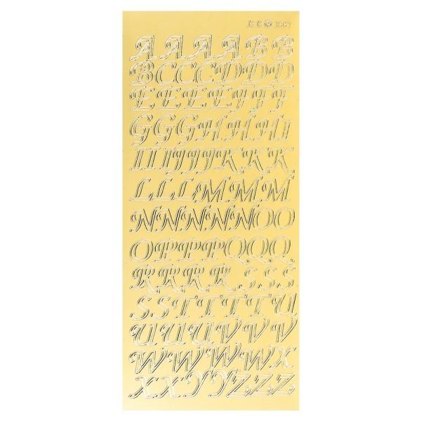 Sticker, Alphabet 2 Großbuchstaben, Spiegelfolie gold