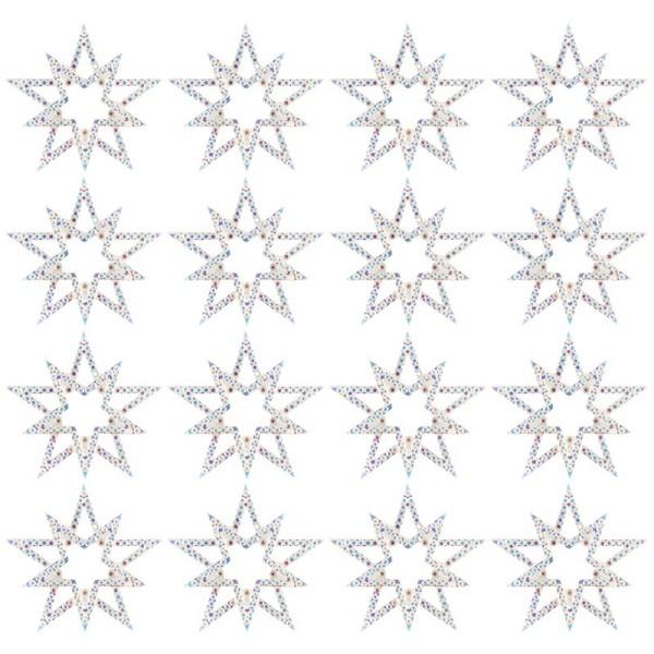 Kristallkunst-Schmucksteine, Stern, Ø 4,3cm, transparent, klar, irisierend, 16 Stück
