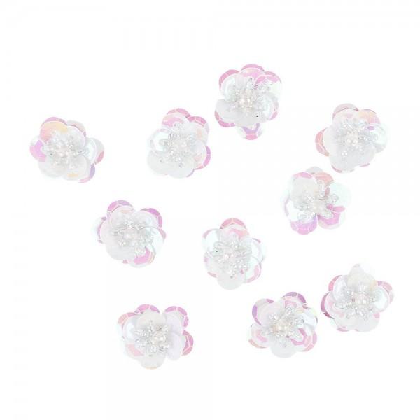 Paillettenblumen, Ø2cm, 10 Stück, weiß-irisierend
