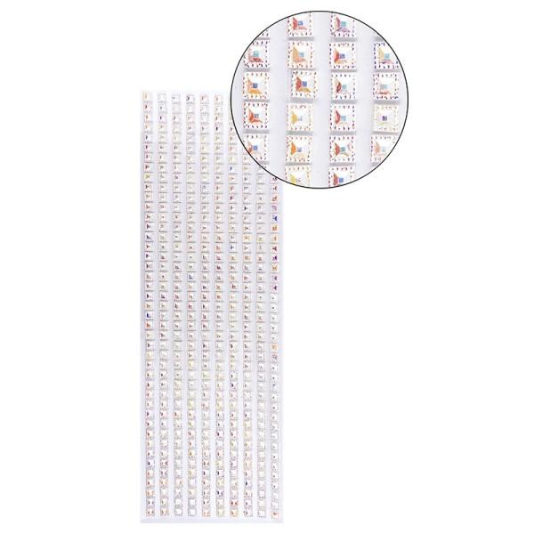 Schmuckstein-Bordüren, selbstklebend, facettiert, irisierend, Quadrate 6mm x 6mm, 29cm, weiß