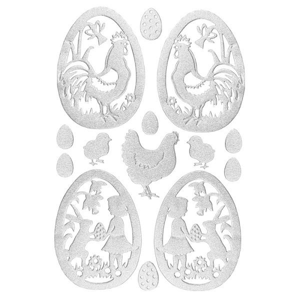 3-D Sticker, Deluxe Ostereier, selbstklebend, silber