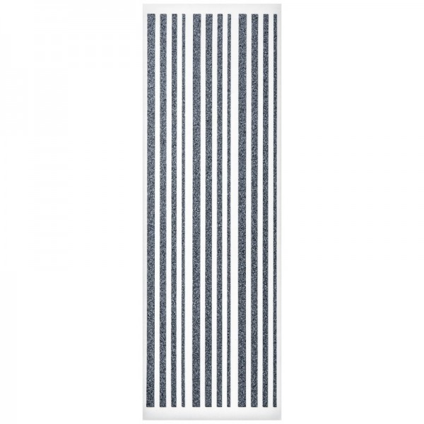 Glitzer-Bordüren, Sticker-Linien, 30 cm lang, 3-6 mm, silbergrau