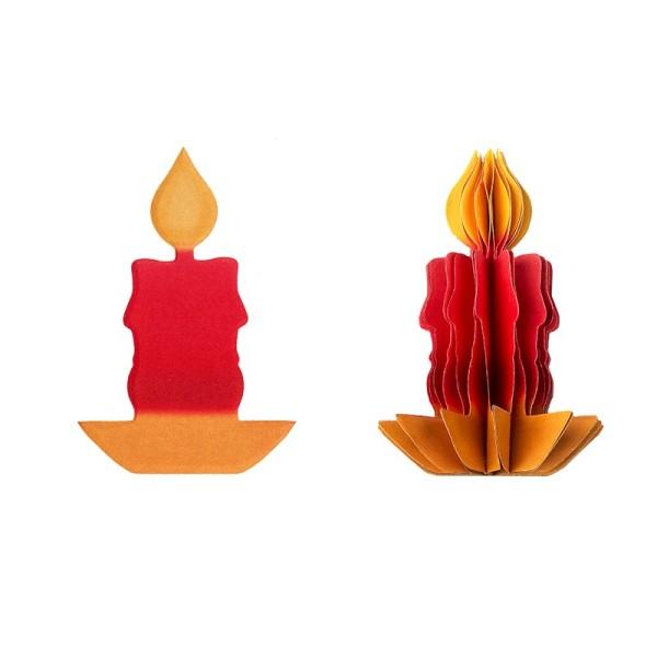 Waben-Stanzteile, Kerze, mit Farbverlauf, 8cm x 4,5cm, 100 Stück