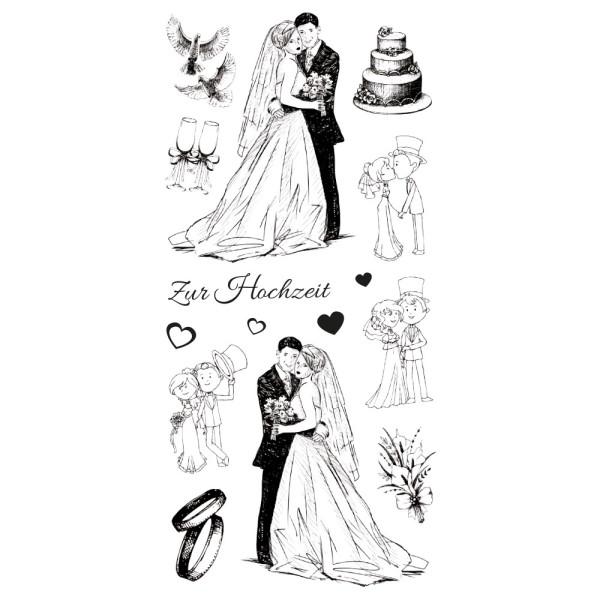 Feinkontur-Stempel, einzelne Motive auf Trägerfolie, Hochzeit