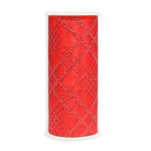 Deko-Tüll-Band mit Glimmer-Rautenmuster, 12cm x 5m, rot