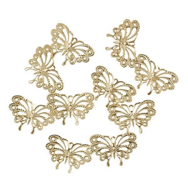 Metall-Ornamente, Design 31, 6cm x 4cm, hellgold, 10 Stück