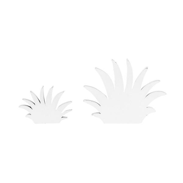 Grasbüschel, Holz, 2 Größen, weiß, 28 Stück