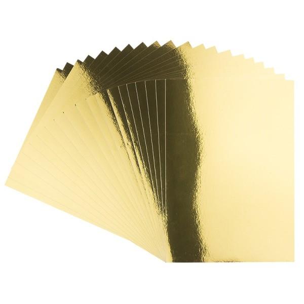 Spiegel-Karton, DIN A4, selbstklebend, 200 g/m², hellgold, 20 Bogen