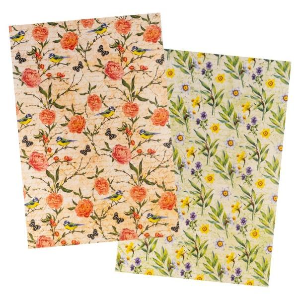 Reispapiere, Blüten 20, DIN A4, 30g/m², 2 verschiedene Designs