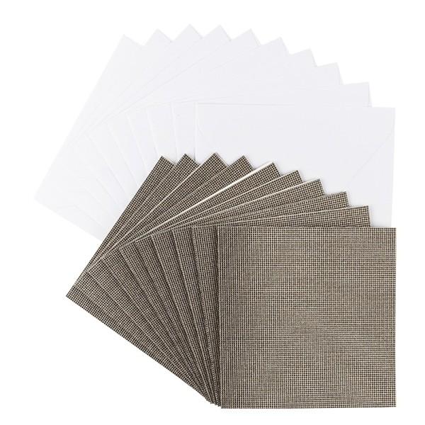 Grußkarten Glitzer-Leinen, 16cm x 16cm, taupe, inkl. Umschläge, 10 Stück
