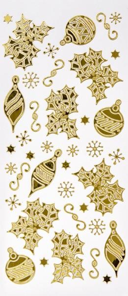 Sticker, Weihnachtsdeko, Spiegelfolie, gold