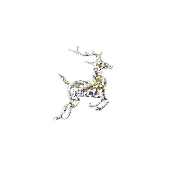 Applikation/Stanzteil Rentier, silber-irisierend, 30 mm, 100 Stück