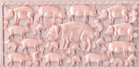 Wachsornament-Platte Schweinchen, 16 x 8 cm, rosa