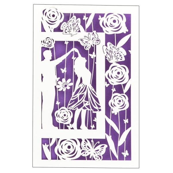 """Laser-Grußkarte """"Tanzendes Paar"""", 12x18cm, mit Umschlag & violettem Einleger"""