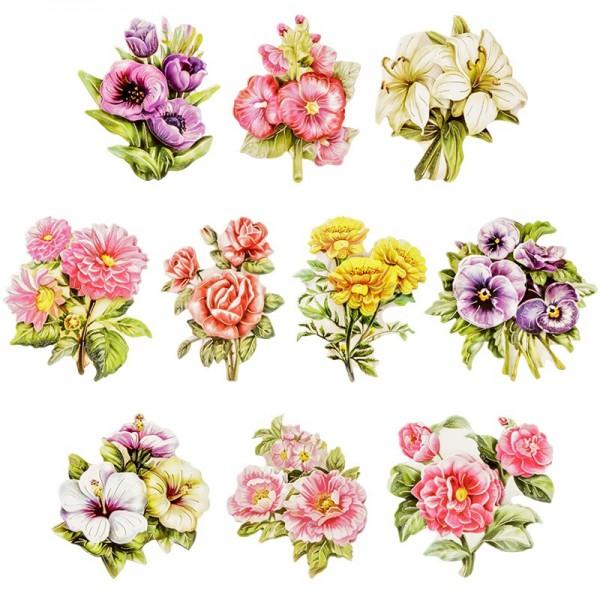 3-D Motive, Gartenblumen, Gold-Gravur, 6-8cm, 10 Motive