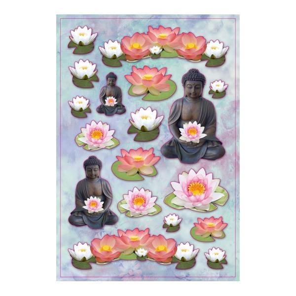 3-D Stickerbogen, Buddha, 12,5 x 18,5 cm