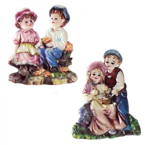 Wachsornamente, Kinder, Mädchen & Junge, 2 Stück