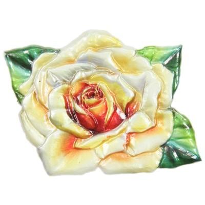 Wachsornament Rose - gelb, geprägt, 7 x 8 cm