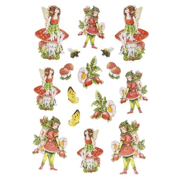 3-D Relief-Sticker, Zauberhafte Elfen 2, 21cm x 30cm, verschiedene Größen, selbstklebend