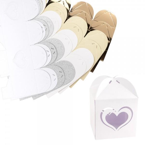 Faltboxen Herz, 250g/m², 7,2cm x 7,2cm x 10cm, versch. Farben & Papiere, 10 Stück