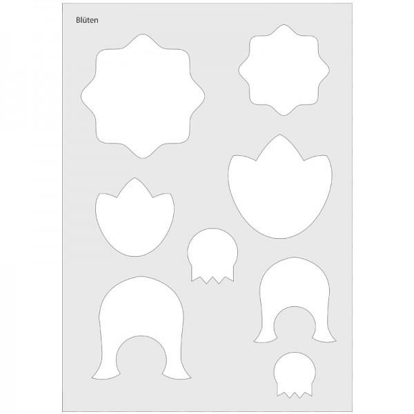 Waben-Schablone inkl. Anleitung/Klebevorlage, DIN A4, Blütenkugeln