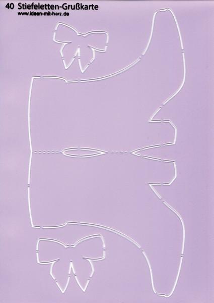 """Design-Schablone Nr. 40 """"Stiefeletten-Grußkarte"""", DIN A4"""