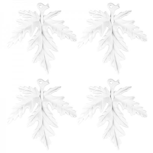 Winter-Deko, Rohling, Blatt, 17cm x 17cm, weiß, 4 Stück
