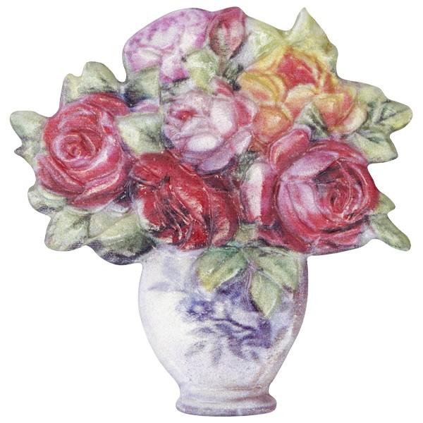 Wachsornament Blume 7, farbig, geprägt, 7cm