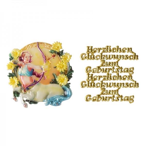 Wachsornamente, Sternzeichen Schütze & Herzlichen Glückwunsch, 2 Stück