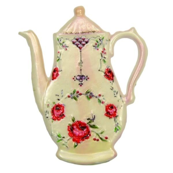 Wachsornament Kanne mit Blumenzierde, 8 x 6,5 cm, Design 5