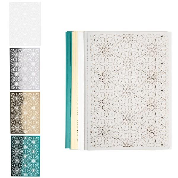 Laser-Kartenaufleger, Zierdeckchen Ornamente, 14,8cm x 10,5cm, 4 Farbtöne, 20 Stück