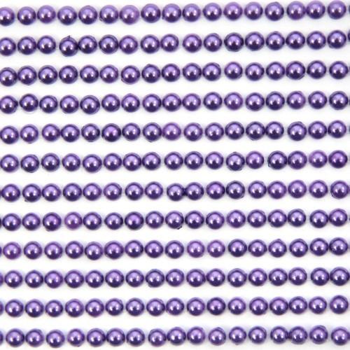 Halbperlen-Bordüren, selbstklebend, Ø5mm, 29 cm, violett, 12Stk