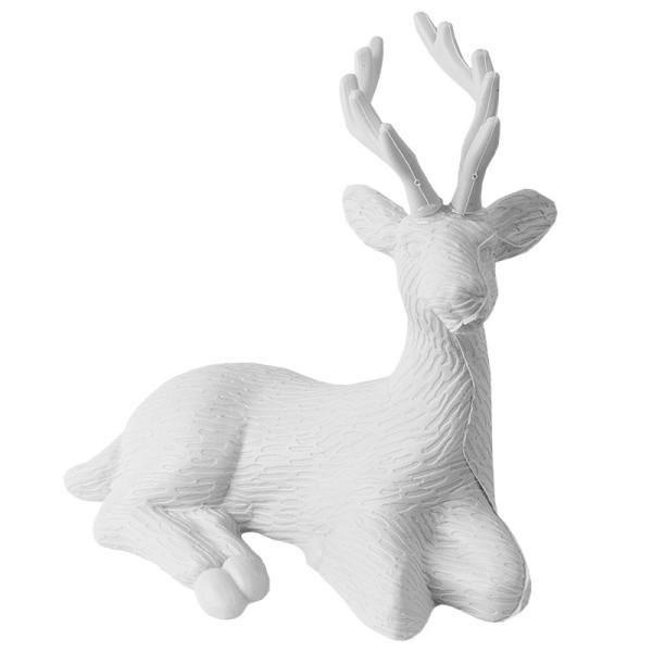 Winter-Deko, Rohling, Hirsch 3, 9,5cm x 15cm x 18cm, weiß