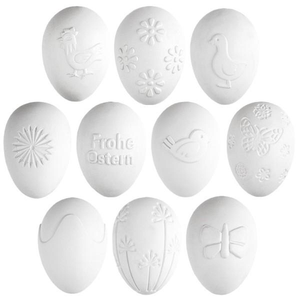 Deko-Eier, Ø 4cm, 5,8cm hoch, weiß, geprägte Ornamentik, 10 versch. Designs, 10 Stück
