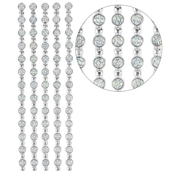 Premium-Schmuck-Bordüren, Bracelet 14, selbstklebend, 28cm, mit Glaskristallen, silber