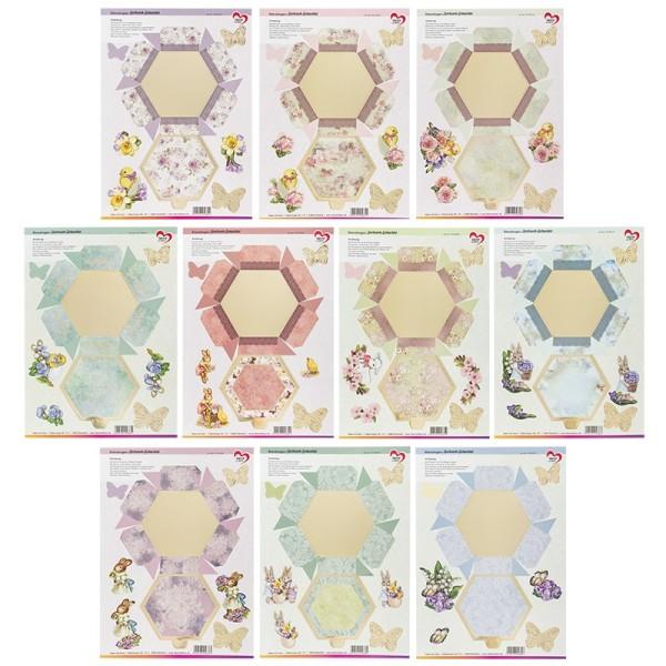 Stanzbogen, Sechseck-Schachteln Ostern, DIN A4, 10 verschiedene Designs, 10 Stück