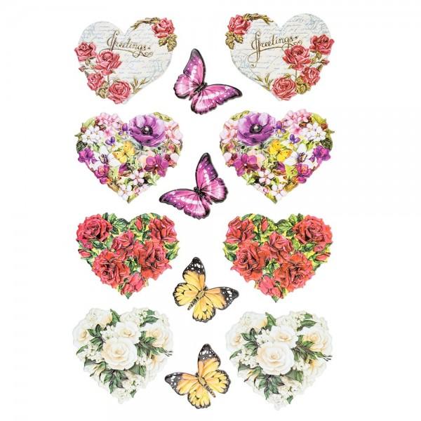 3-D Relief-Sticker, Blumen & Vasen 2, verschiedene Größen, selbstklebend