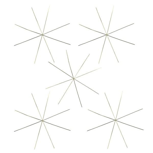 Drahtsterne, Ø 13cm, 8-strahlig, hellgold, 5 Stück
