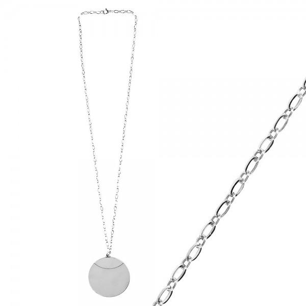 Glieder-Halskette mit Anhänger aus Edelstahl, Länge 60cm, 3mm stark, Anhänger Ø 5cm, silber