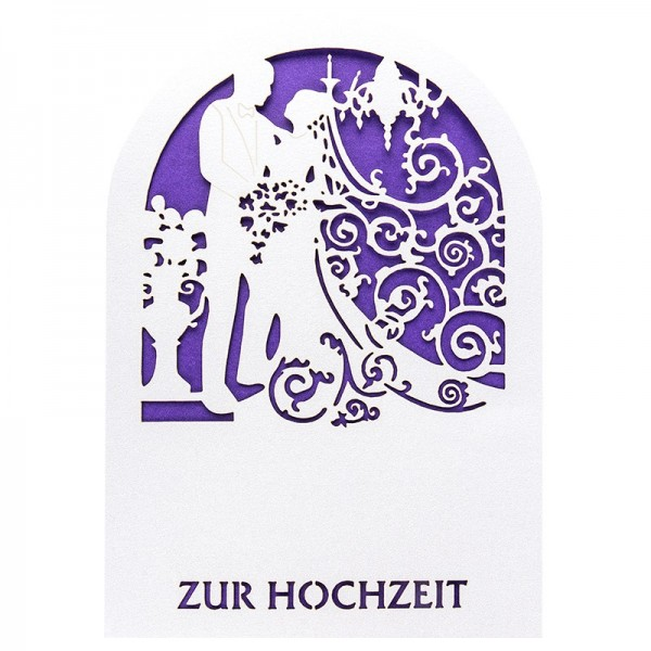 Laser-Grußkarten, Zur Hochzeit 1, 11,3cm x 16,1cm, naturweiß, inkl. Einleger & Umschläge, 10 Stück