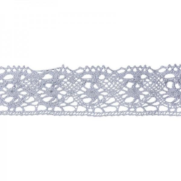 Häkelspitze Design 4, 2,8cm breit, 2m lang, blaugrau