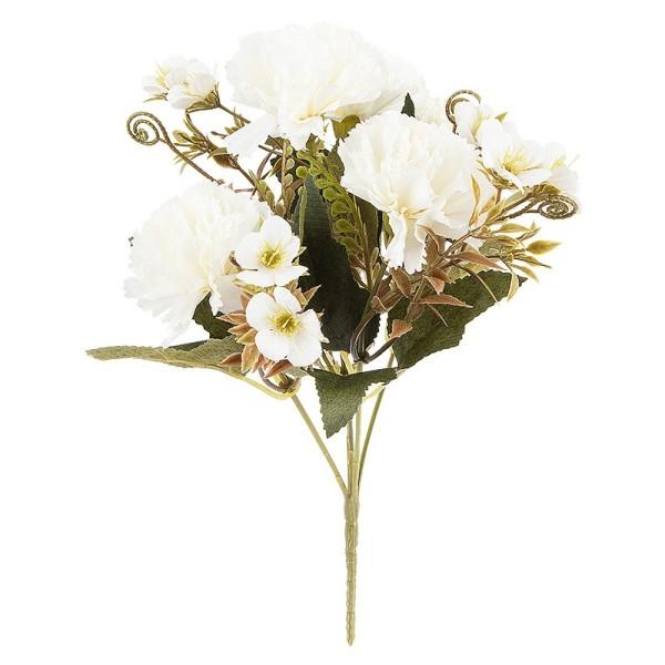 Blütenbusch, Nelken 2, 28cm hoch, 5 große Blüten Ø 4,5cm, weiß