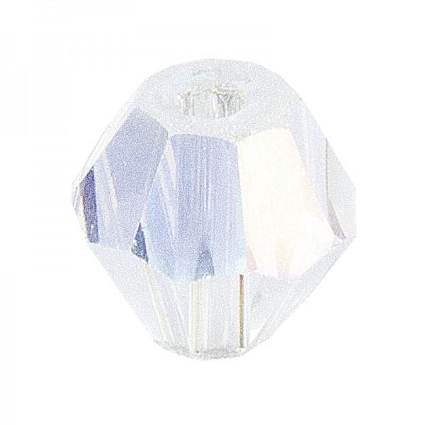 Glaskunst, Perlen, Diamant, 0,8cm x 0,8cm, facettiert, klar irisierend, 50 Stück