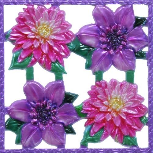 Wachsornament-Platte Flower Power 2, farbig, geprägt, 10x10cm