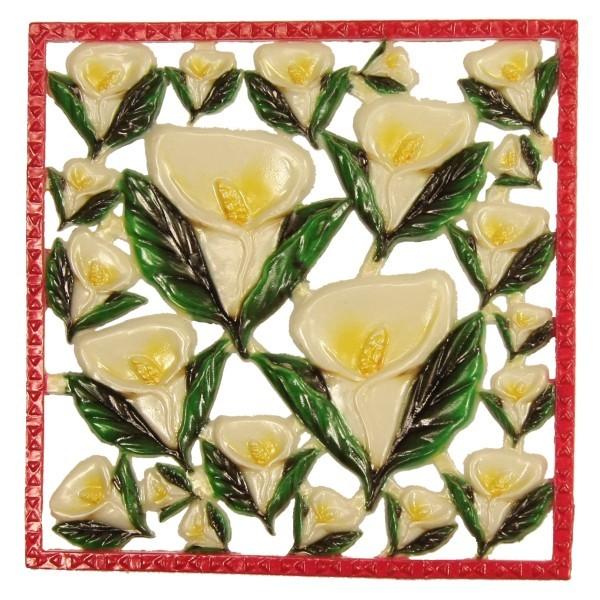 Wachsornament-Platte Calla, 10 x 10 cm