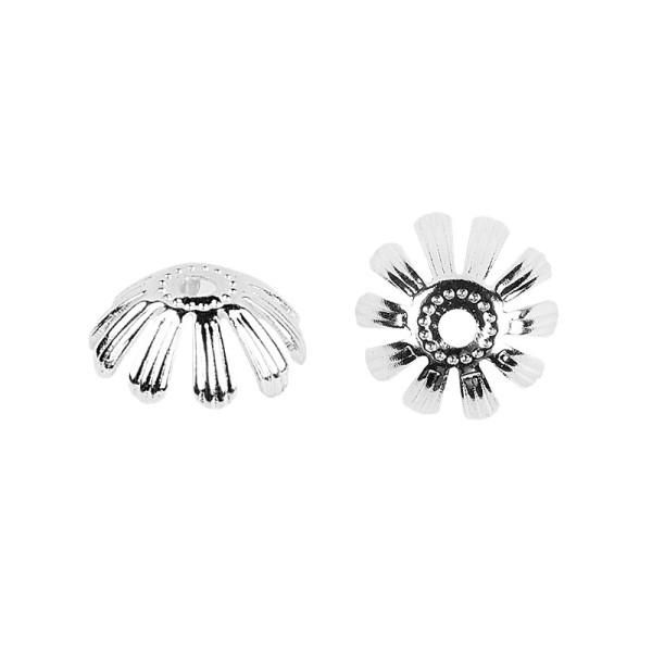 Perlenkappen, Design 5, für Perlen mit Ø 6mm, silber, 30 Stück