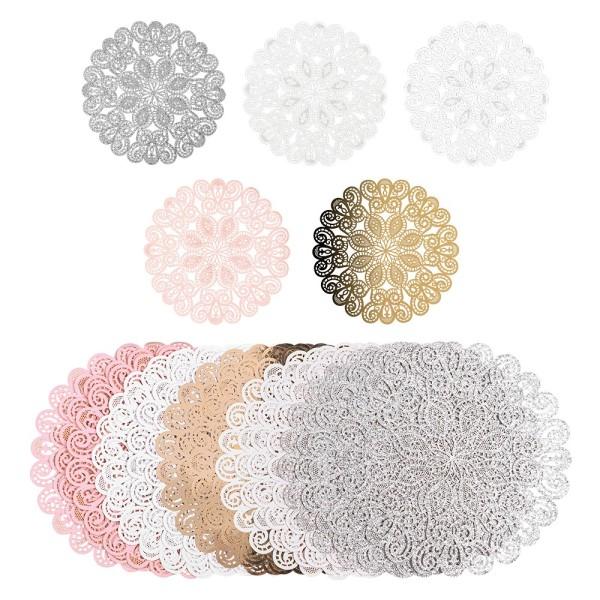 Laser-Kartenaufleger, Zierdeckchen, Ornament 22, Ø 14cm, 220 g/m², 5 Farbtöne, 20 Stück