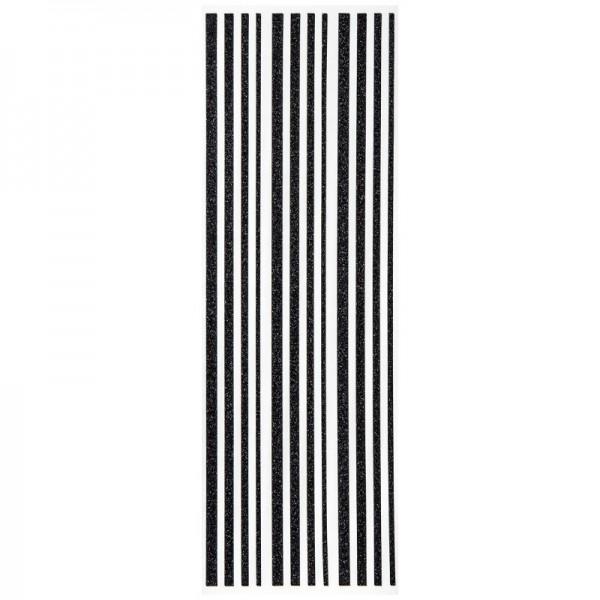 Glitzer-Bordüren, Sticker-Linien, 30 cm lang, 3-6 mm, schwarz