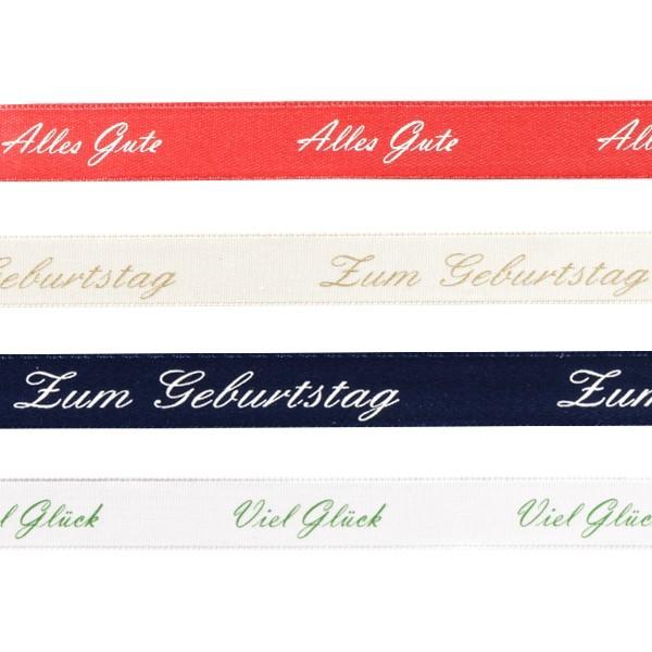 """Schleifenband """"Alles Gute/Viel Glück"""", 1,5 cm x 3 m, 4 Stück"""